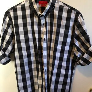 Zara men dress shirt black and white